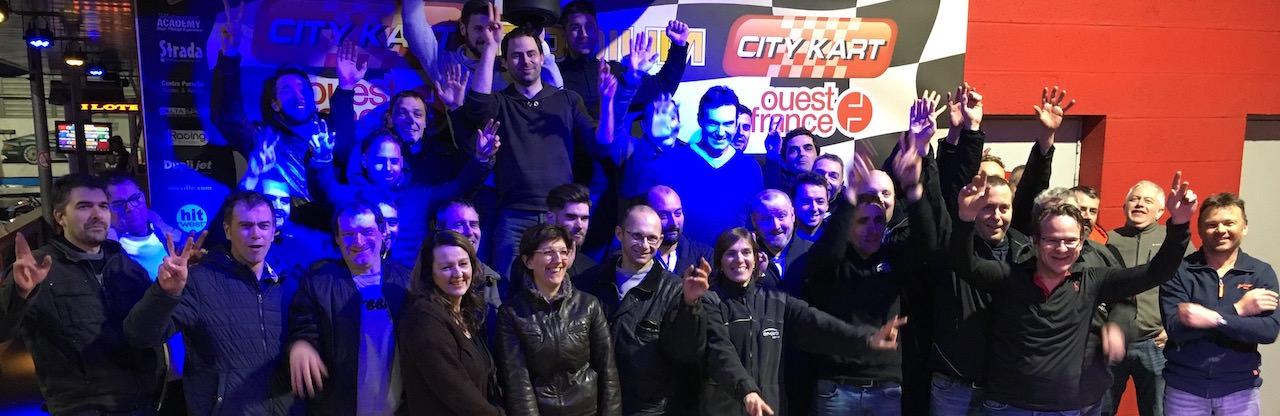 Podium d'une course entreprise de Karting à Nantes